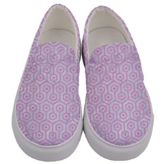 Hexagon1 White Marble & Pink Colored Pencil (r) Men s Canvas Slip Ons