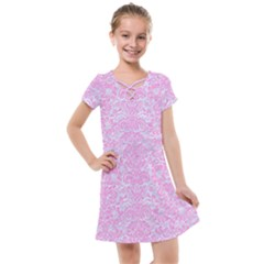 Damask2 White Marble & Pink Colored Pencil (r) Kids  Cross Web Dress