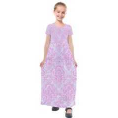 Damask1 White Marble & Pink Colored Pencil (r) Kids  Short Sleeve Maxi Dress