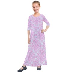 Damask1 White Marble & Pink Colored Pencil (r) Kids  Quarter Sleeve Maxi Dress