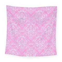 Damask1 White Marble & Pink Colored Pencil Square Tapestry (large)