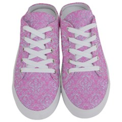 Damask1 White Marble & Pink Colored Pencil Half Slippers