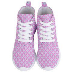 Circles3 White Marble & Pink Colored Pencil (r) Women s Lightweight High Top Sneakers