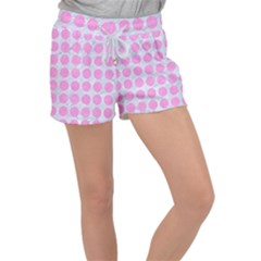 Circles1 White Marble & Pink Colored Pencil (r) Women s Velour Lounge Shorts