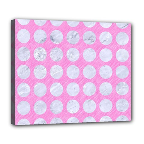 Circles1 White Marble & Pink Colored Pencil Deluxe Canvas 24  X 20   by trendistuff