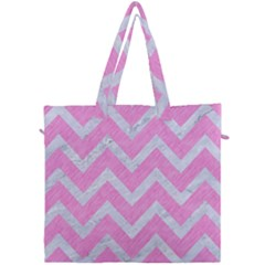 Chevron9 White Marble & Pink Colored Pencil Canvas Travel Bag by trendistuff