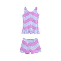 Chevron3 White Marble & Pink Colored Pencil Kid s Boyleg Swimsuit