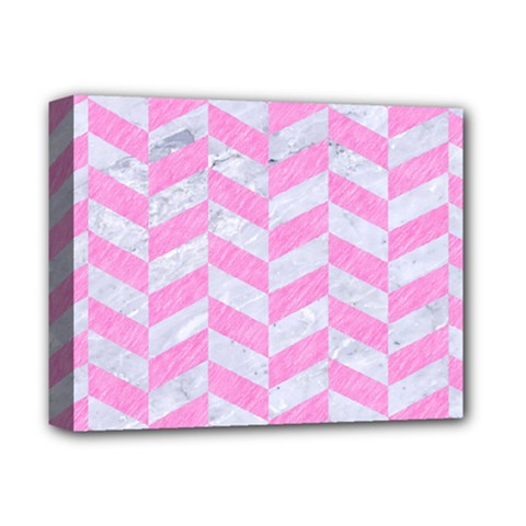 Chevron1 White Marble & Pink Colored Pencil Deluxe Canvas 14  X 11  by trendistuff