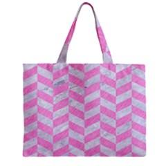 Chevron1 White Marble & Pink Colored Pencil Zipper Mini Tote Bag by trendistuff
