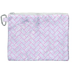 Brick2 White Marble & Pink Colored Pencil (r) Canvas Cosmetic Bag (xxl) by trendistuff