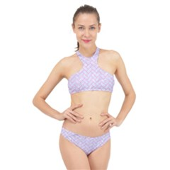 Brick2 White Marble & Pink Colored Pencil (r) High Neck Bikini Set