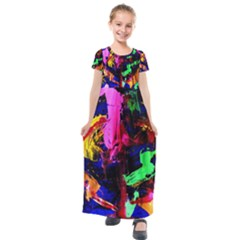 Global Warming 1 Kids  Short Sleeve Maxi Dress
