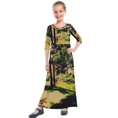Hot Day In Dallas 25 Kids  Quarter Sleeve Maxi Dress