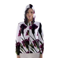 Purple Carnations From A Distance Hooded Windbreaker (women) by bloomingvinedesign