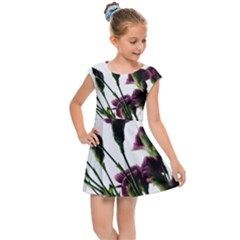 Purple Carnations From A Distance Kids Cap Sleeve Dress