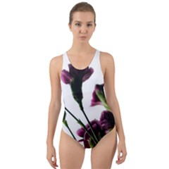 Purple Carnations From A Distance Cut Out Back One Piece Swimsuit by bloomingvinedesign