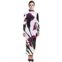 Purple Carnations From A Distance Turtleneck Maxi Dress