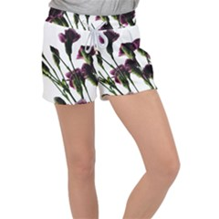 Purple Carnations From A Distance Women s Velour Lounge Shorts