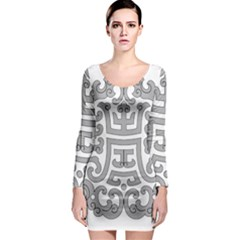 Chinese Traditional Pattern Long Sleeve Bodycon Dress