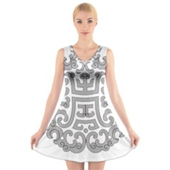 Chinese Traditional Pattern V Neck Sleeveless Dress