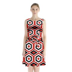 Motif Batik Design Decorative Sleeveless Waist Tie Chiffon Dress
