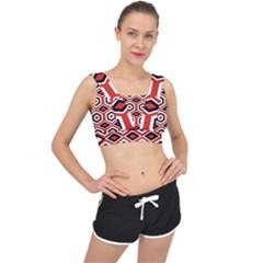 Motif Batik Design Decorative V Back Sports Bra