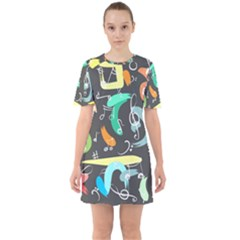 Repetition Seamless Child Sketch Sixties Short Sleeve Mini Dress