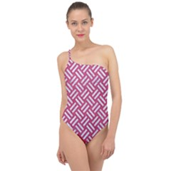 Woven2 White Marble & Pink Denim Classic One Shoulder Swimsuit