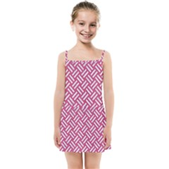 Woven2 White Marble & Pink Denim Kids Summer Sun Dress