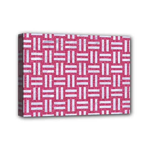Woven1 White Marble & Pink Denim Mini Canvas 7  X 5  by trendistuff