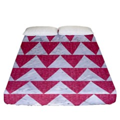 Triangle2 White Marble & Pink Denim Fitted Sheet (california King Size)