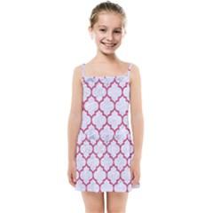 Tile1 White Marble & Pink Denim (r) Kids Summer Sun Dress