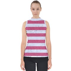 Stripes2white Marble & Pink Denim Shell Top