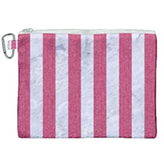 Stripes1 White Marble & Pink Denim Canvas Cosmetic Bag (xxl) by trendistuff
