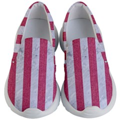Stripes1 White Marble & Pink Denim Kid s Lightweight Slip Ons
