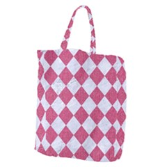 Square2 White Marble & Pink Denim Giant Grocery Zipper Tote