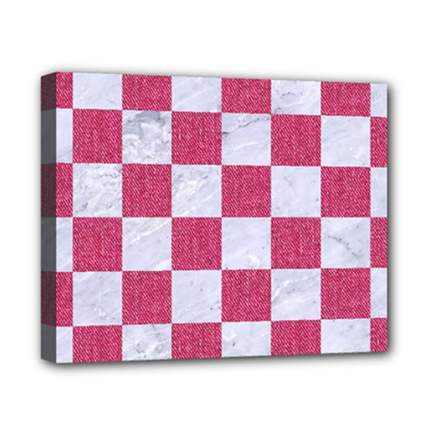 Square1 White Marble & Pink Denim Canvas 10  X 8  by trendistuff
