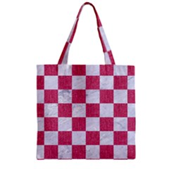 Square1 White Marble & Pink Denim Zipper Grocery Tote Bag