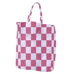 Square1 White Marble & Pink Denim Giant Grocery Zipper Tote