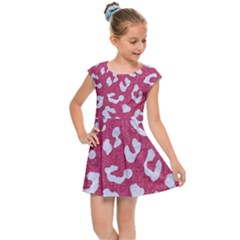 Skin5 White Marble & Pink Denim (r) Kids Cap Sleeve Dress