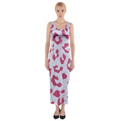 Skin5 White Marble & Pink Denim Fitted Maxi Dress