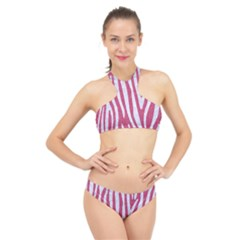 Skin4 White Marble & Pink Denim (r) High Neck Bikini Set