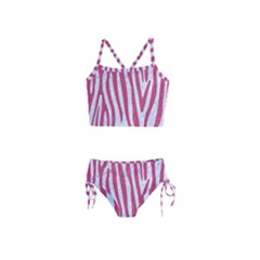 Skin4 White Marble & Pink Denim Girls  Tankini Swimsuit