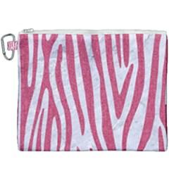 Skin4 White Marble & Pink Denim Canvas Cosmetic Bag (xxxl)