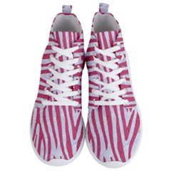 Skin4 White Marble & Pink Denim Men s Lightweight High Top Sneakers
