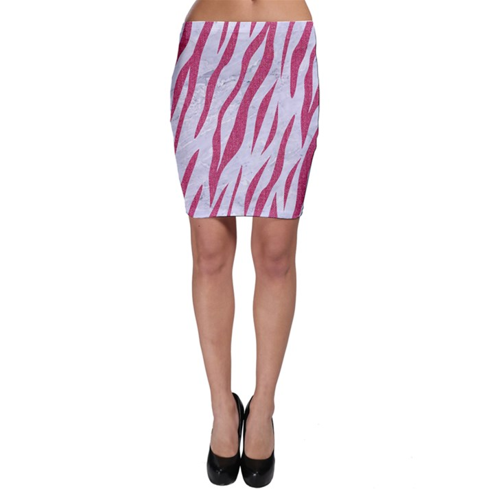 SKIN3 WHITE MARBLE & PINK DENIM (R) Bodycon Skirt
