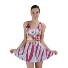 Skin3 White Marble & Pink Denim (r) Mini Skirt