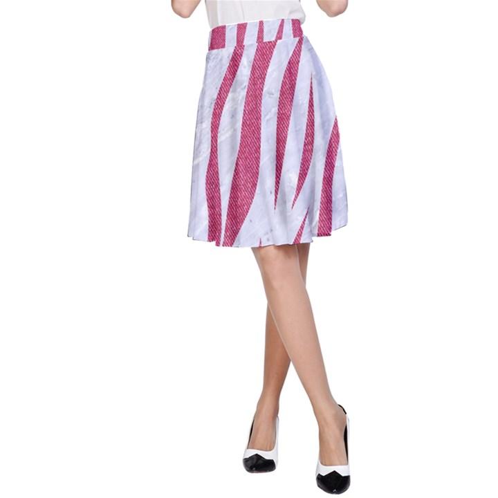 SKIN3 WHITE MARBLE & PINK DENIM (R) A-Line Skirt