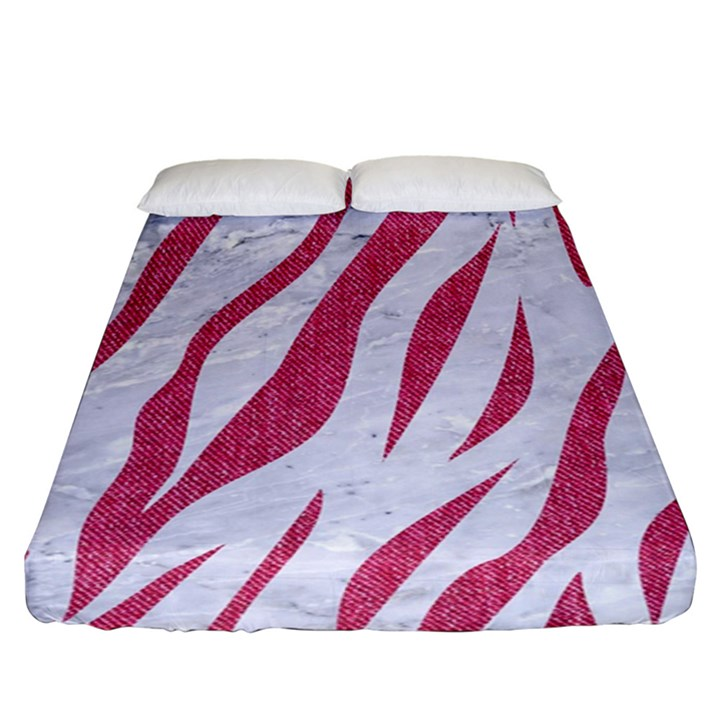 SKIN3 WHITE MARBLE & PINK DENIM (R) Fitted Sheet (King Size)