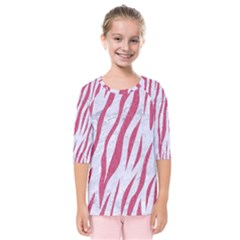 Skin3 White Marble & Pink Denim (r) Kids  Quarter Sleeve Raglan Tee